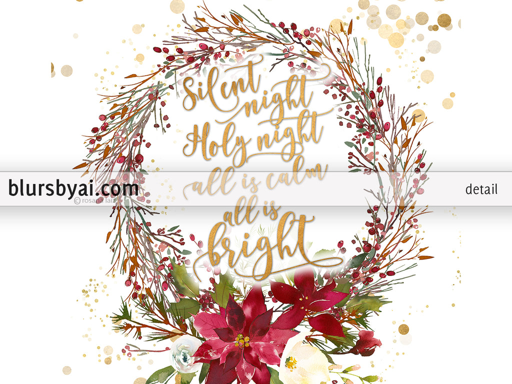 Silent night lyrics printable Christmas decor, with berries and poinsettia wreath