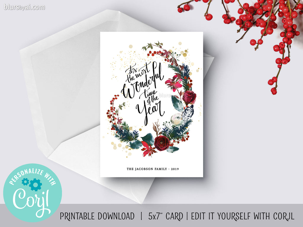 Personalized printable Christmas card: It's the most wonderful time of the year - Edit with Corjl