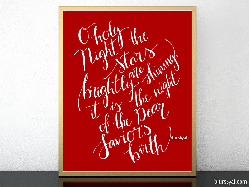 O holy night lyrics printable Christmas decor, in red and white modern calligraphy