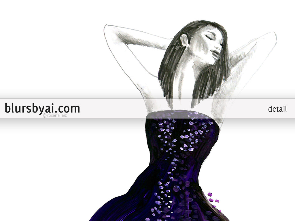 Printable fashion illustration: long purple and black gown
