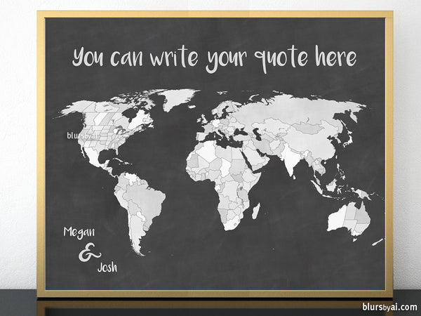 Diy personalized world map with countries and states outlined in chalkboard style, 20x16""