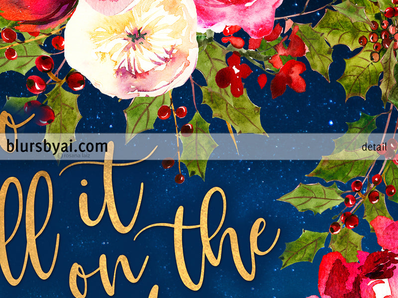 Go tell it on the mountain lyrics printable Christmas decor, red flowers, gold and navy blue