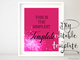 "8x10"" - DIY Printable sign template for Word. Make your own party signs in hot pink glitter and black"