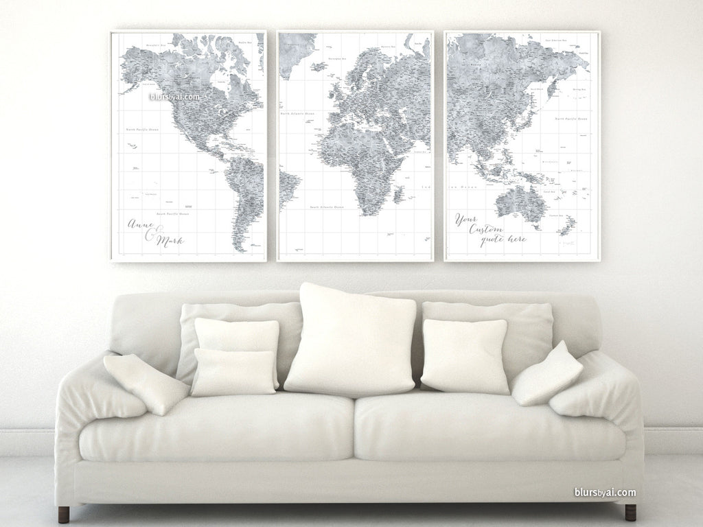 highly detailed world map poster split in 3 panels, grayscale watercolor