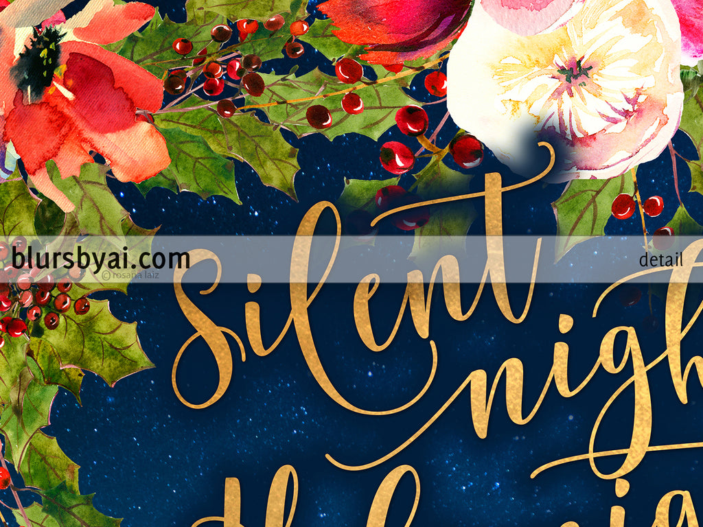 Silent night lyrics printable Christmas decor, in gold, navy blue, and red florals