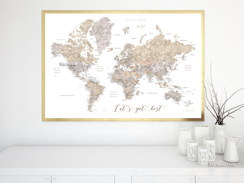 Printable watercolor world map with cities in neutrals, Let's get lost, large 36x24""