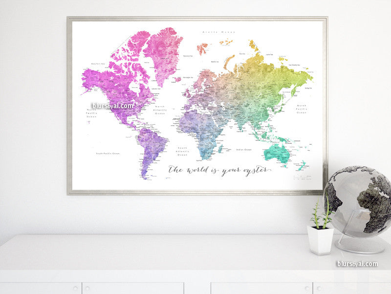 "Printable watercolor world map with cities in colorful gradient, the world is your oyster, large 36x24"". - For personal use only"
