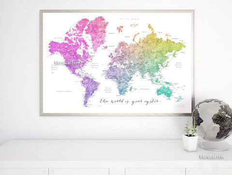 World maps printable world map world map print map poster printable watercolor world map with cities in colorful gradient the world is your oyster gumiabroncs Choice Image