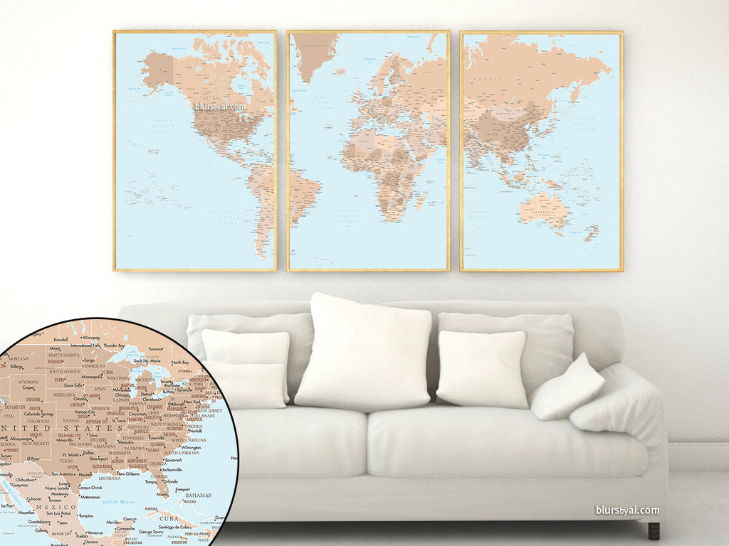 "PRINTABLE multi panel & highly detailed world map with cities, states and state capitals. ""Tahoe"""