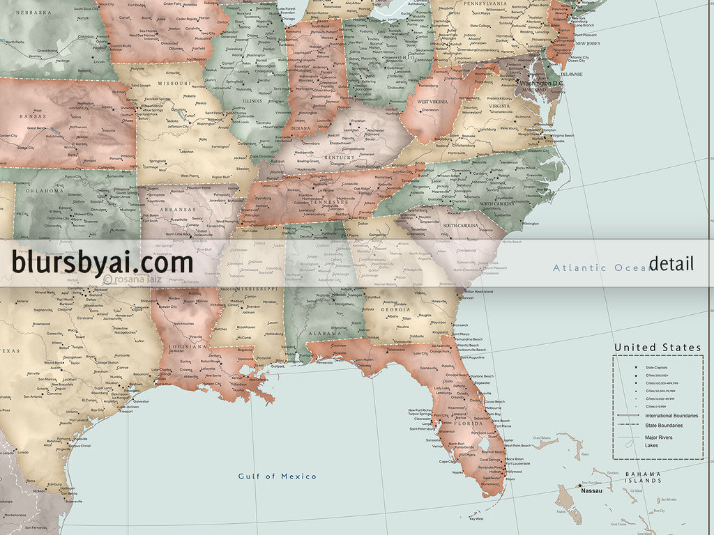 Custom Vintage Inspired Watercolor Usa Map With Cities Canvas Print