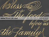 Printable bless the food before us sign for dining room in gold and chalkboard