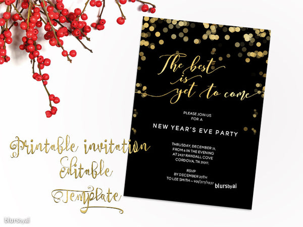printable new year u0026 39 s eve party invitation template for
