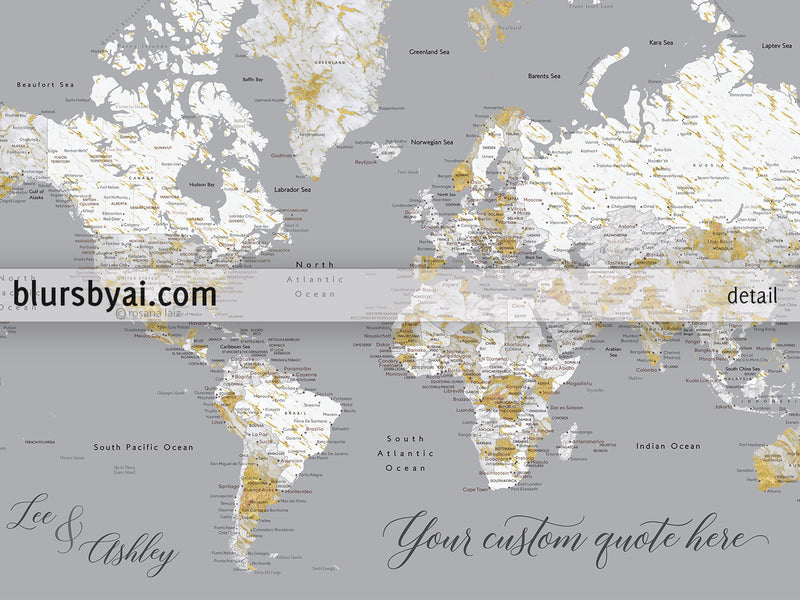 "Wedding guestbook map print: marble world map with cities in gray and gold. ""Reagan"""