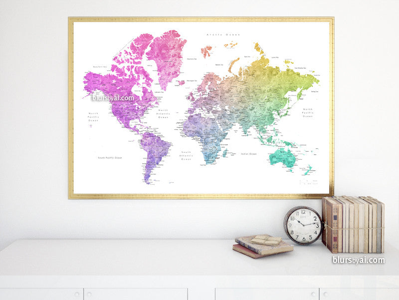 Printable watercolor world map with cities in colorful rainbow gradient, large 36x24""