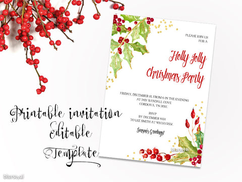"Printable Christmas party invitation template for Word, in 5x7"" featuring holly leaves and berries"
