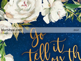 Go tell it on the mountain lyrics printable Christmas decor, white antique roses, gold and navy blue