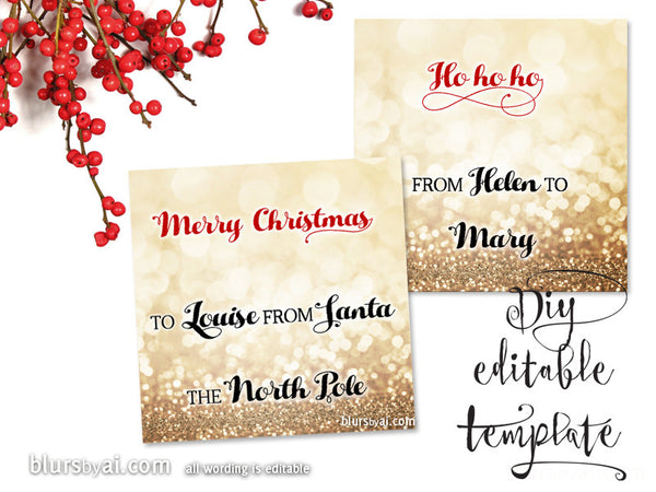 Printable Christmas gift tags template for Word, fully ...