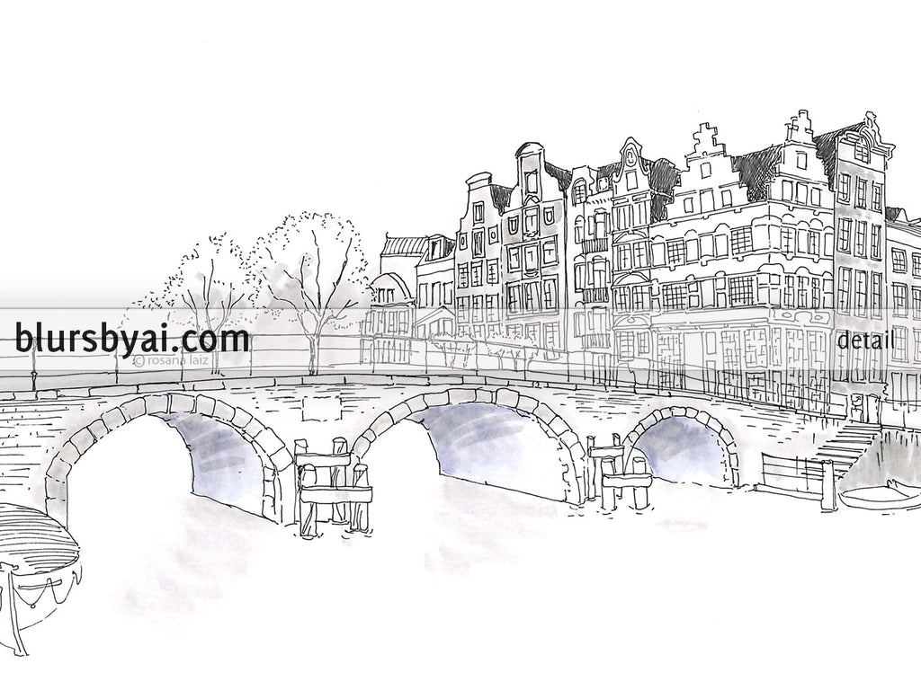 Printable Architectural Sketches Amsterdam Canal Houses