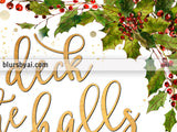 Deck the halls lyrics printable Christmas decor, in gold with holly leaves