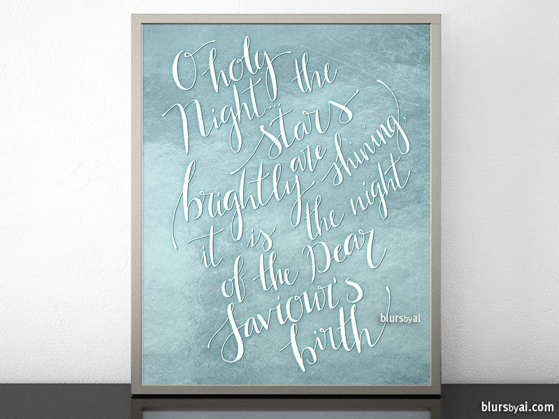 O holy night lyrics printable Christmas decoration, in pastel blue and white modern calligraphy