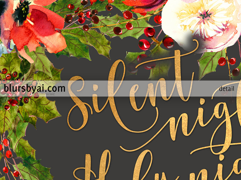 Silent night lyrics printable Christmas decor, in gold, gray and red florals
