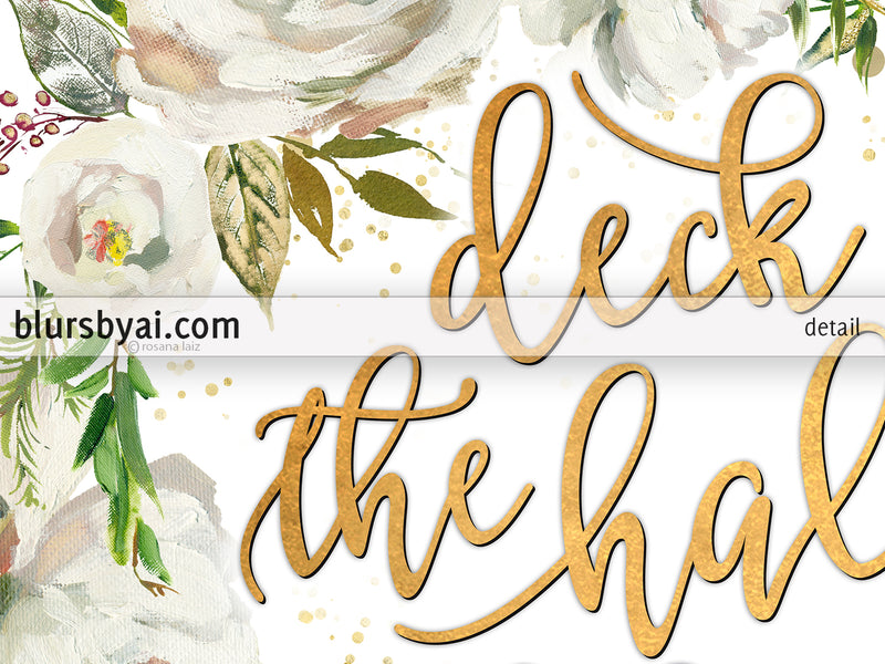 Deck the halls lyrics printable Christmas decor, in gold and white florals