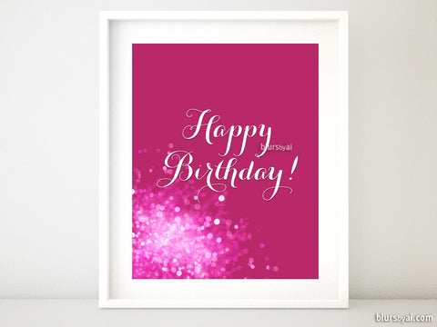 Happy Birthday printable sign in hot pink and white