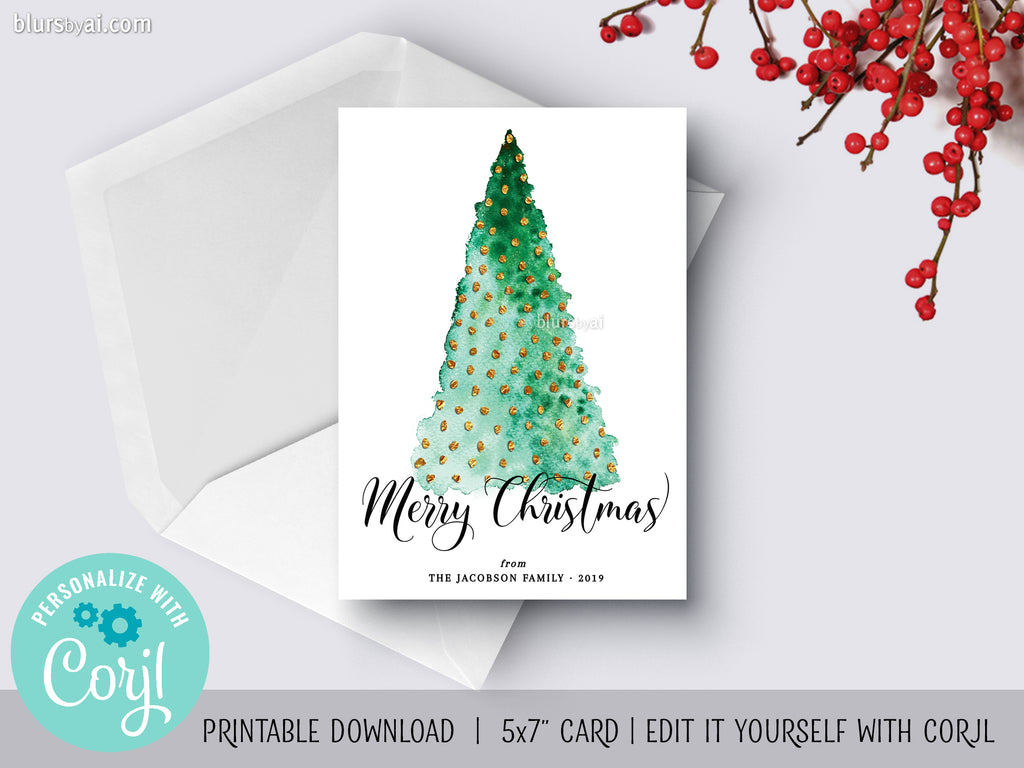 Personalized printable Christmas card: watercolor abstract Christmas tree - Edit with Corjl
