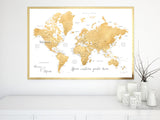Custom quote - faux gold foil printable world map with cities, capitals, countries, US States... labeled.