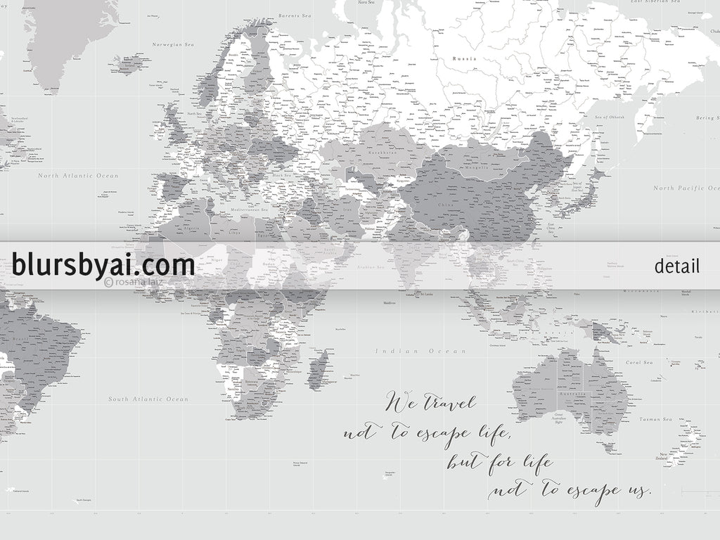 "Custom large & highly detailed gray world map canvas print or push pin map. ""Cristina"""