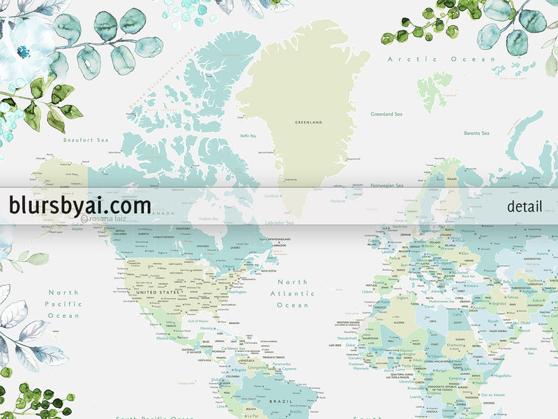 Greenery and flowers world map art print in mint and aquamarine