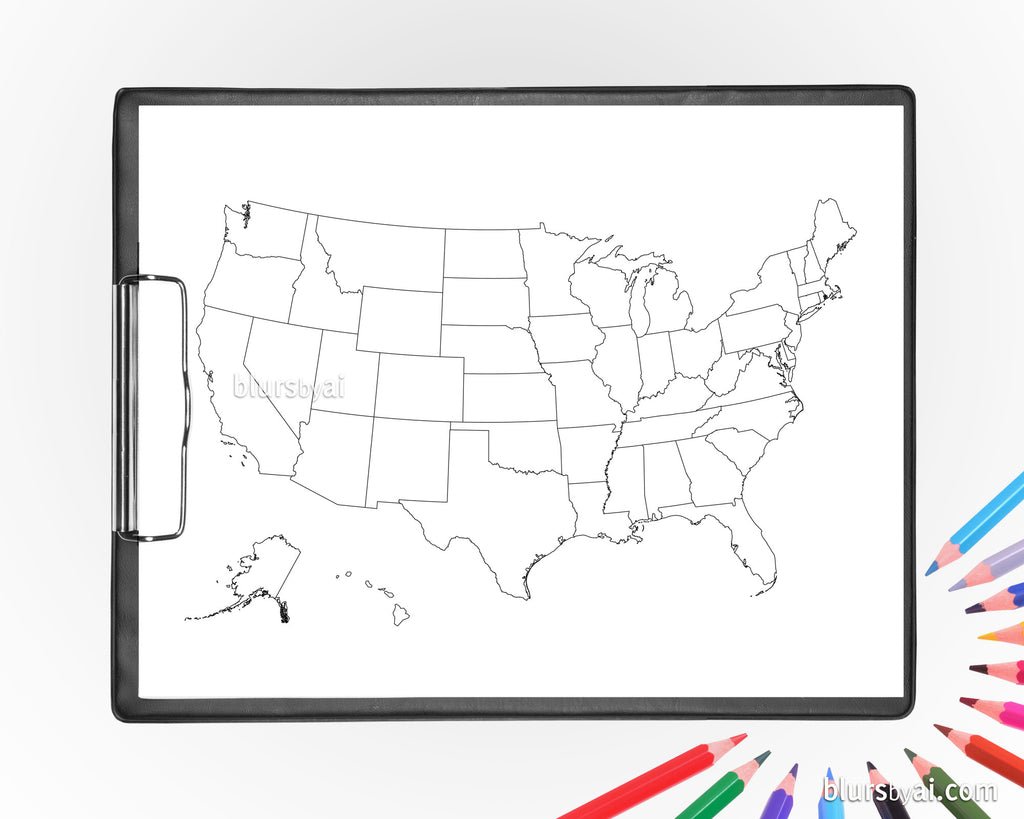 Printable US map with states for coloring, adult coloring page