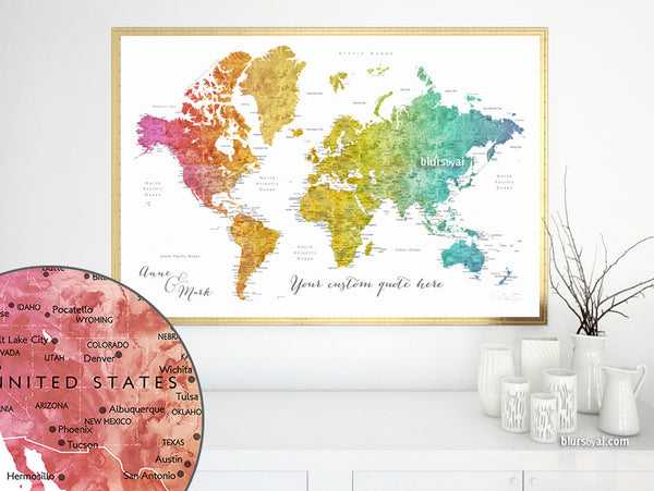 Custom quote - printable colorful gradient watercolor world map with cities, capitals, countries, US States... labeled. Color combination: Phoenix