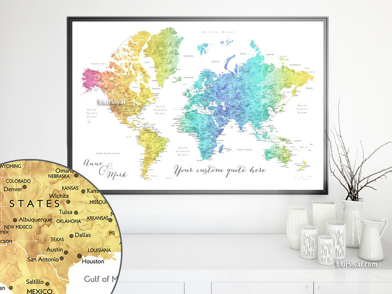 picture about Printable Map of Houston named Personalized quotation - Printable vibrant gradient watercolor earth map with metropolitan areas. Colour mix: Maxwell