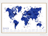Printable 2019 calendar: watercolor world map in navy blue with splatters