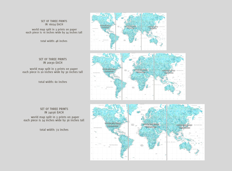 "Multi panel, custom highly detailed world map print - Rustic world map with cities. ""Lucille"""