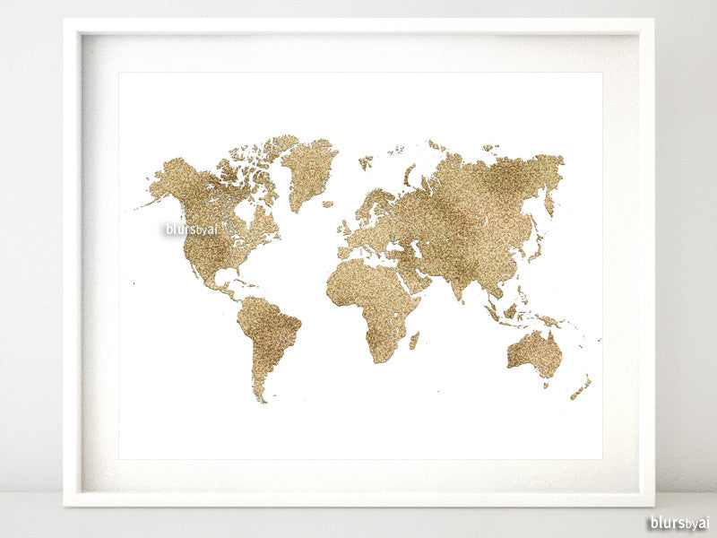 "Gold glitter world map, no quote, 10x8"" - For personal use only"