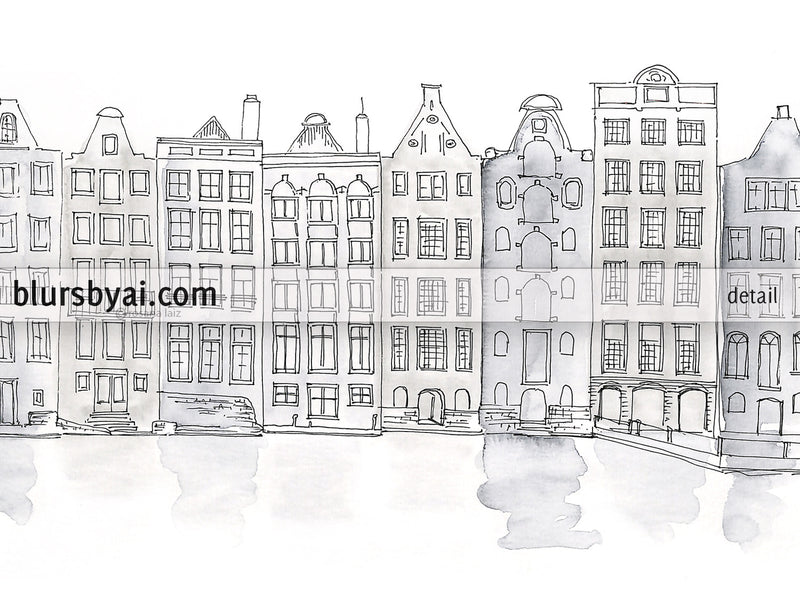 Printable architectural sketches: Amsterdam canal houses