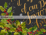 O holy night lyrics printable Christmas decor, in gold, holly leaves and gray
