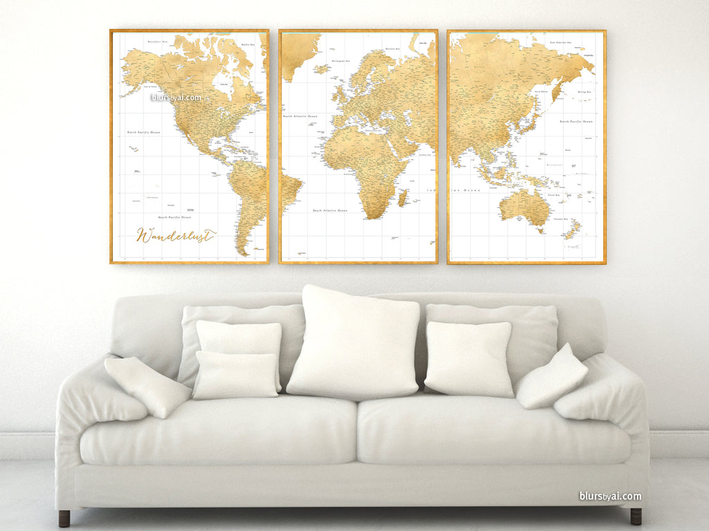 Custom quote highly detailed world map print gold world map custom quote highly detailed world map print gold world map gumiabroncs Choice Image