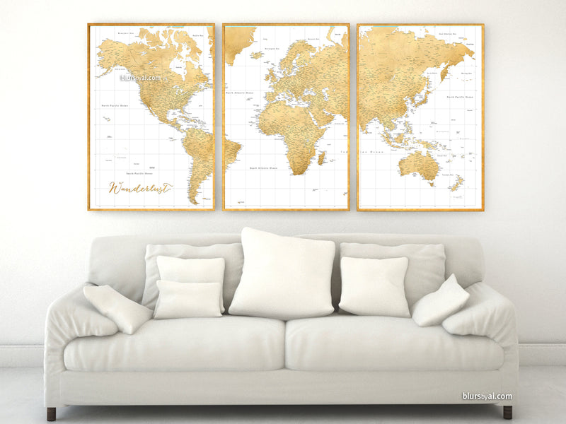 "Multi panel, custom highly detailed world map print - Gold world map with cities. ""Rossie"""