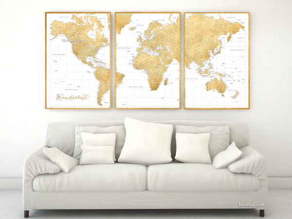 Gold World Map Poster.Custom Quote Highly Detailed World Map Print Gold World Map