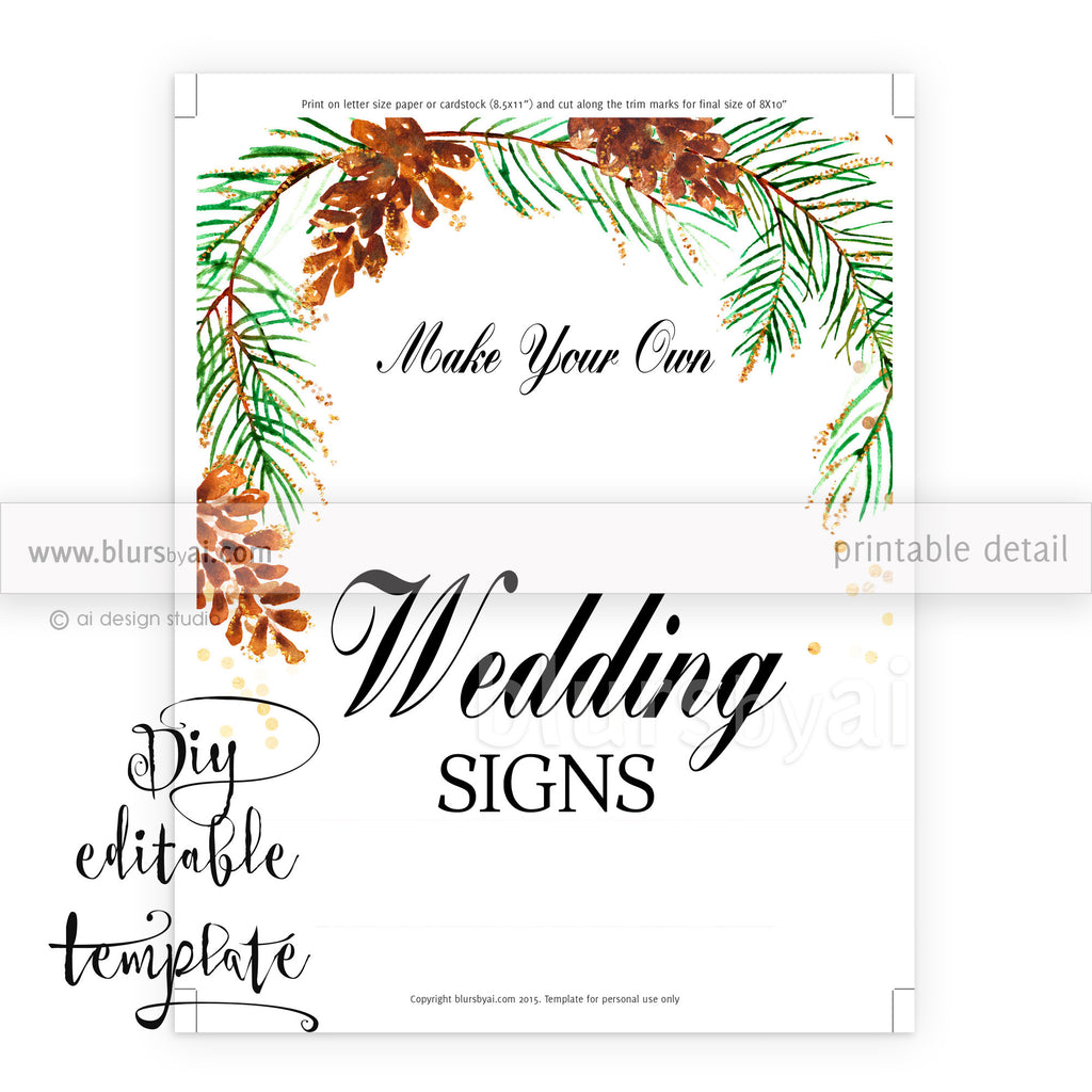 Free Wedding Sign Templates: DIY Printable Sign Template For Word. Make Your