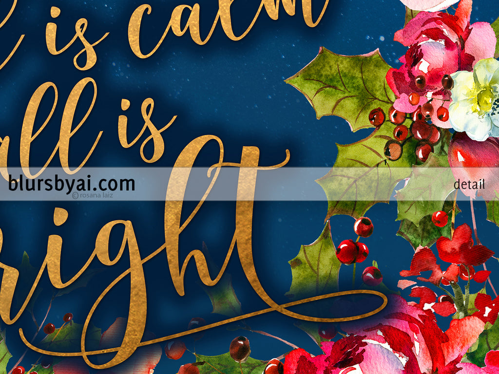 photo about Silent Night Lyrics Printable called Quiet night time lyrics printable Xmas decor, within gold, military services blue, and crimson florals