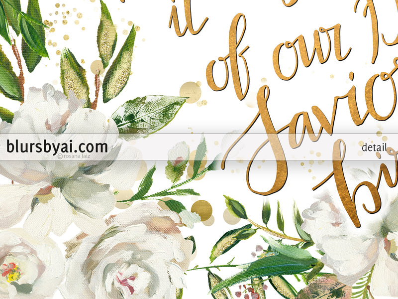 O holy night lyrics printable Christmas decor, in gold and white florals