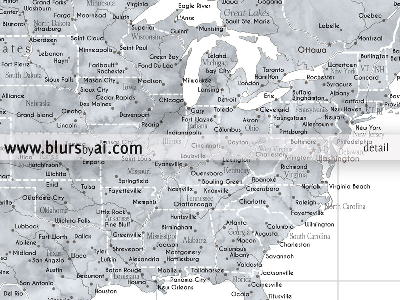 "Custom world map print - highly detailed map with cities in grayscale watercolor. ""Jimmy"""