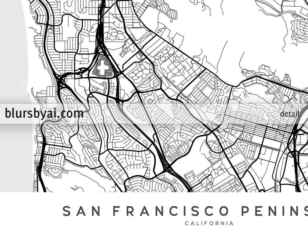 Printable map of San Francisco Penninsula in scandinavian style - For personal use only