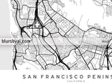 Printable map of San Francisco Penninsula in scandinavian style