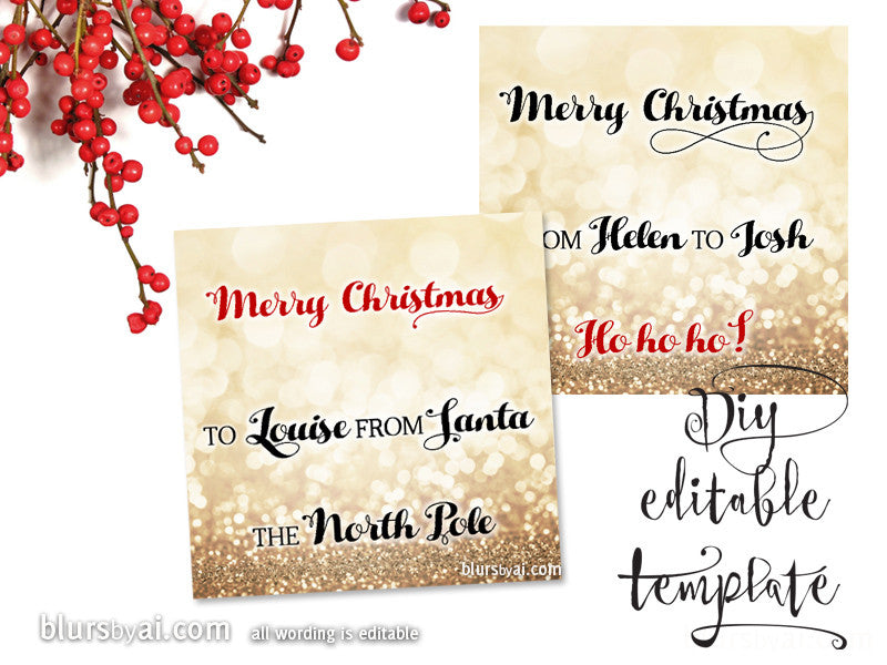 Printable Christmas gift tags template for Word, fully editable wording