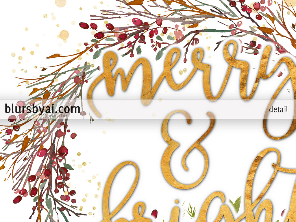 Merry and bright, printable Christmas decor, red and gold wreath